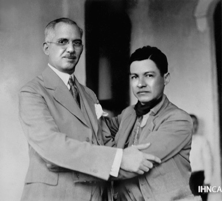 Sandino y el Presidente Juan Bautista Sacasa