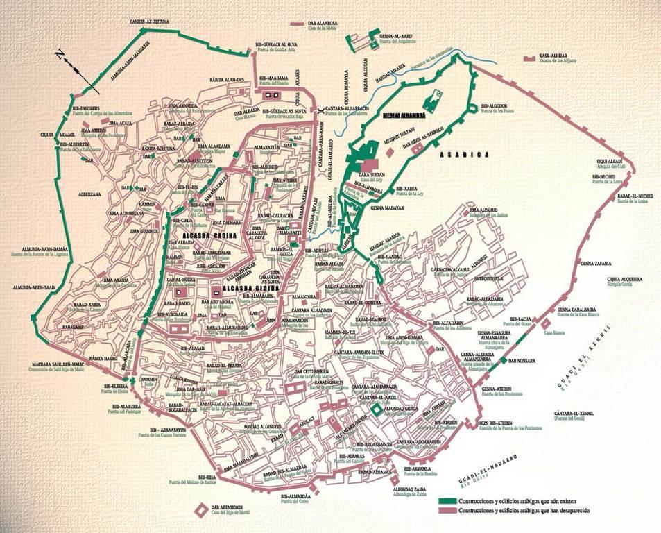 Plano de la Ciudad Musulmana de Granada