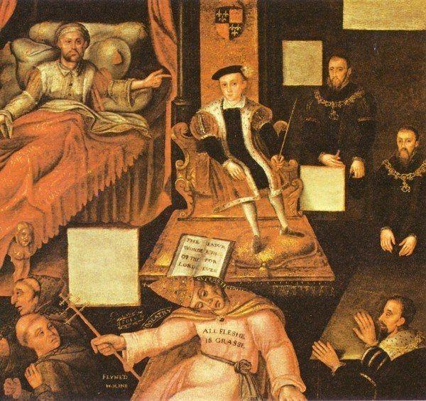 Enrique VIII señala a su hijo y sucesor Eduardo VI.