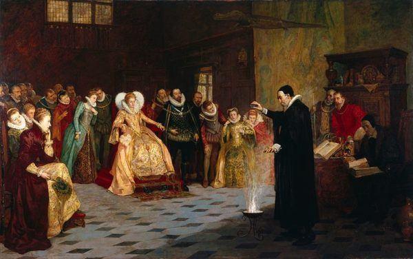 Isabel I impulsó la cultura. John Dee realiza un experimento ante la reina Isabel I de Inglaterra