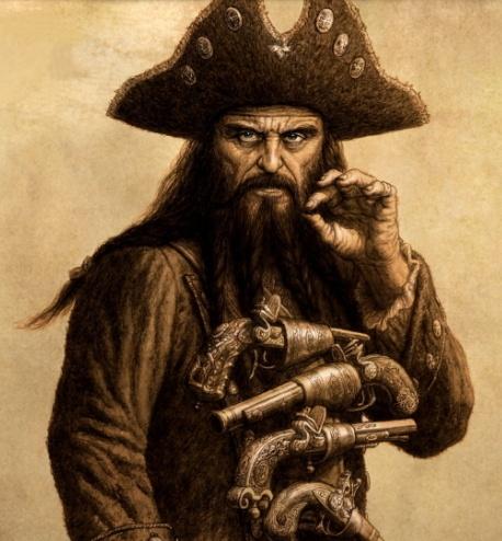 """Según describe el libro The Pirates, Barbanegra aprovechaba su aspecto para dar miedo al contrincante: """"Antes de lanzarse a la batalla"""