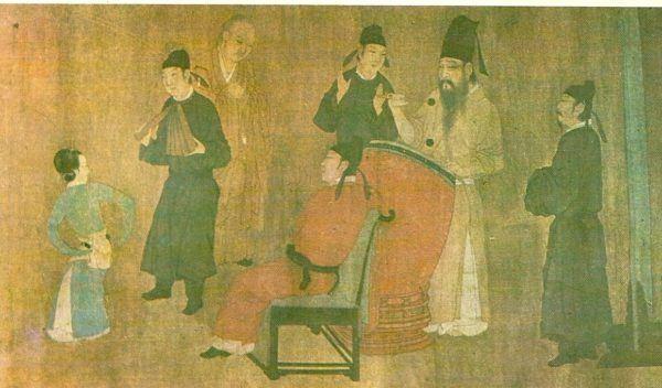 Escena de la corte en un rollo pintado sobre seda ,que se conserva en el Museo Imperial de Pekin