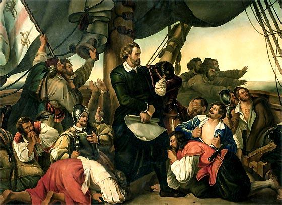 Cristóbal Colón divisa el Nuevo Mundo (óleo de Christian Ruben)