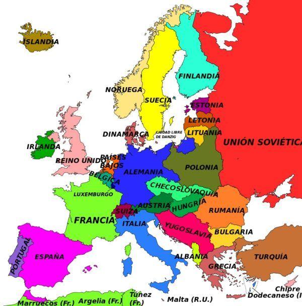 Mapa de Europa después de la Primera Guerra Mundial
