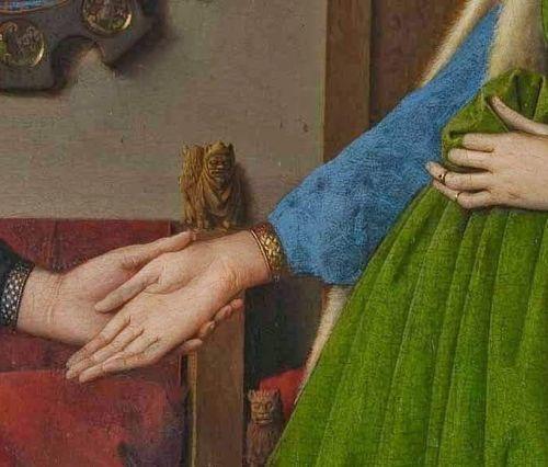 Detalle de manos cuadro El matrimonio Arnolfini