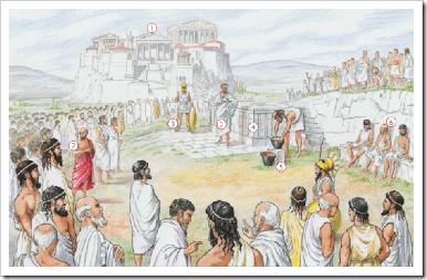 ilustracion de la asamblea de atenas