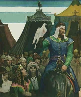 Genghis Khan cabalgando con la caballería Mongola, que componía la mayor parte de su ejército