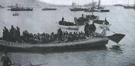 Desembarco de tropas japonesas en la bahia de Chemulpo