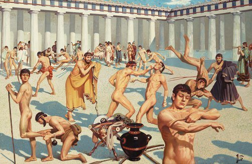 La educación deportiva y filológica bajo la dirección de un gimnasiarka
