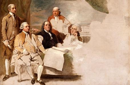 Firmantes del Tratado de Paris 1783. Los ingleses se negaron a ser incluidos en el cuadro