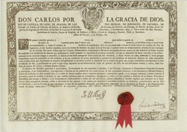 Documento de Patente de Corso promulgada por Carlos I