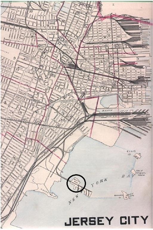 Localización de la Isla Black Tom
