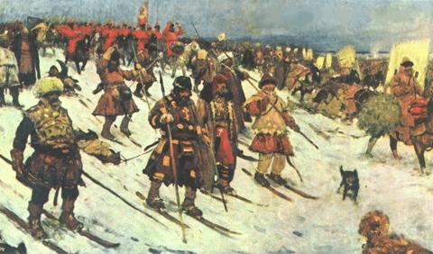 Soldados rusos usando esquís durante las campañas de invierno. Via: Wikimedia Commons