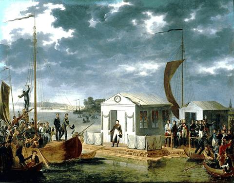 Napoleón se encuentra con el zar Alejandro I sobre el Niemen en 1807. Via: Wikipedia Commons