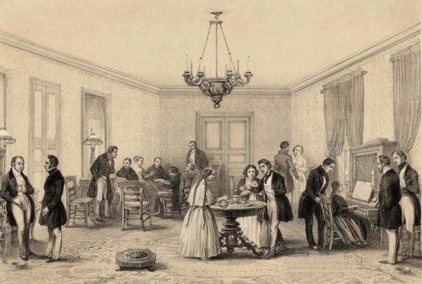 Tertulia en Santiago 1840. La Burguesía de las Colonias