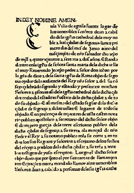 Sinodal Aguilafuente. Primer Incunable Impreso en España