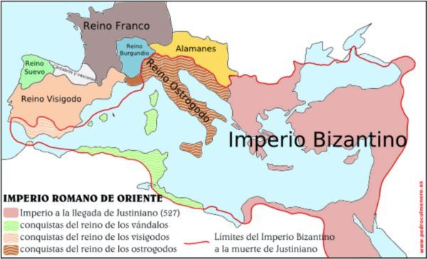Imperio Bizantino a la subida al trono de Justiniano