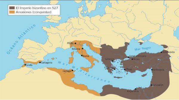 Imperio Bizantino, tras las conquistas de Justiniano, en marrón más claro