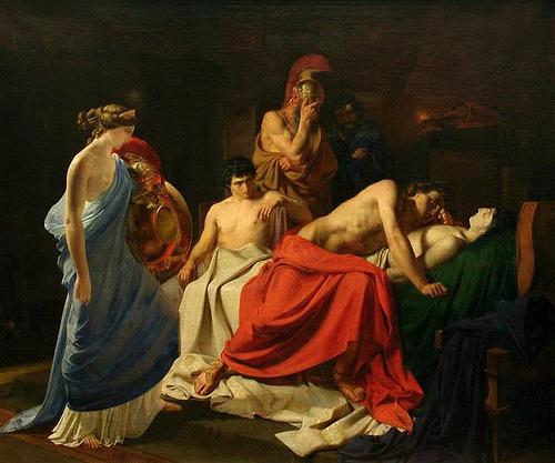 Aquiles llora sobre el cadáver de Patroclo