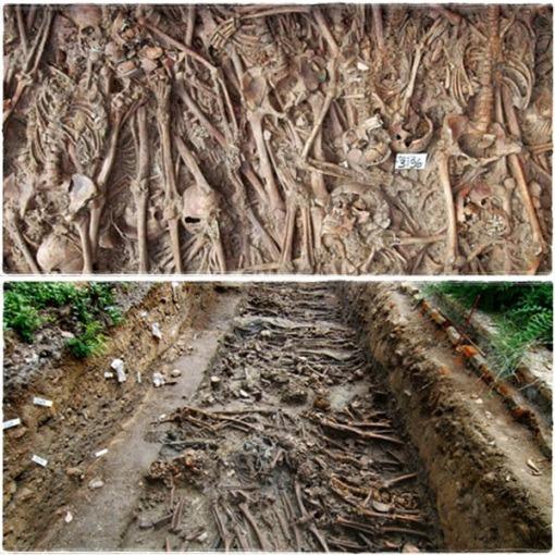 Cuerpos enterrados en fosas comunes durante la Peste