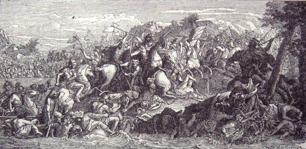 Batalla del río Gránico. Grabado basado en un fresco de Lebrun