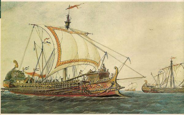 Marina griega de guerra.- Galeras trirremes. Siglo V antes de Cristo.