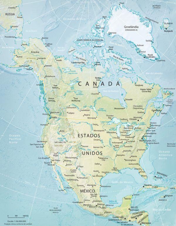 Mapa poltico de Amrica  Pases de Amrica del Norte y Amrica