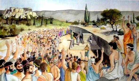 Mide 110 metros de altura nada más, pero sirvió hace siglos para que allí se realizara la Asamblea Popular de Atenas, la Ekklesia.