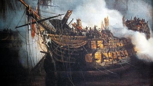 Tras la batalla el Bucentaure apenas podía flotar