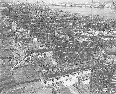 Astilleros donde se construían los buques del tipo Liberty Ship.