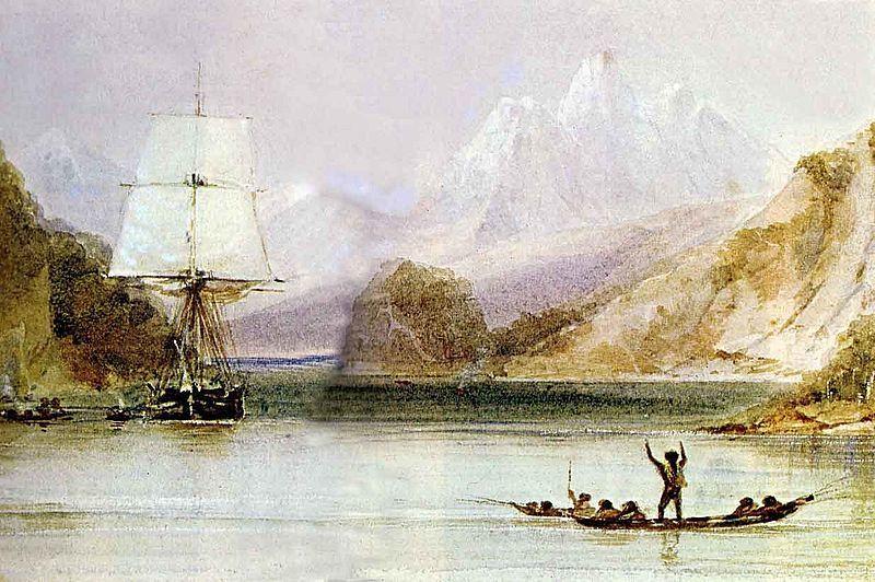 HMS Beagle, por Conrad Martens. Explorando Tierra del Fuego e Islas Malvinas. Charles Darwin era uno de sus tripulantes.