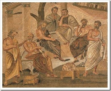 la academia de platon, Mosaico romano del siglo I