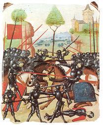 Lancaster vs York en la Batalla de Barnet, en 1471.