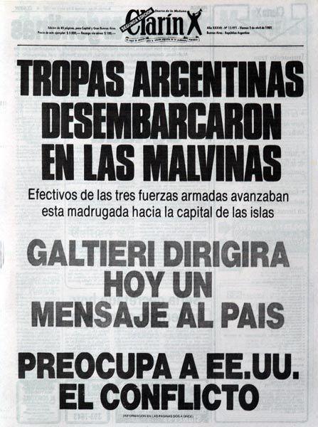 Portada del Diario Clarín: 02/04/82